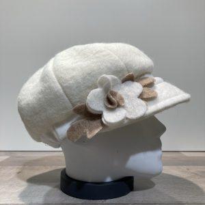 Casquette Gavroche écru élastiquée doublure polaire