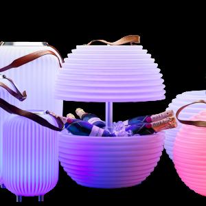 Seau à champagne lumineux avec enceinte Bluetooth intégrée